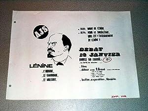 Affiche des années 70 de l'A.J.S - LENINE, l'homme, le camarade, le militant. ...