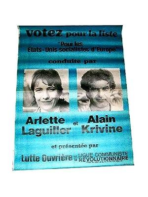 """Affiche illustrée de photographiesVotez pour la liste """" Les Etats: LAGUILLER (Arlette)"""
