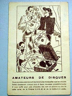 """Carte postale des années 30 signée LEROY""""Amateur de disque.: Carte Postale"""