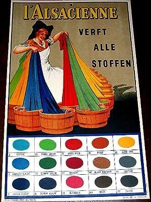 Carton publicitaire d'époque l'Alsacienne. 'Verft alle stoffen' illustr&...