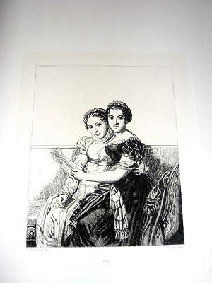 Eauforte. Représentant Les Filles de Joseph Bonaparte d'après Louis: DAVID ...