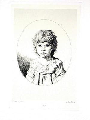 Eauforte. Représentant Jules DAVID, son fils d'après Louis DAVID: DAVID Jacques Louis