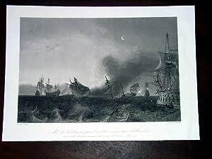 Gravure XIX ème Peint par GUDIN gravée par CHAVANE - M. De Coêtlogon prend ...