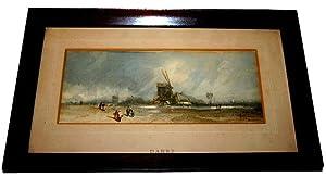 Aquarelle originale représentant Paysage hollandais MOULIN avec des personnages signé...