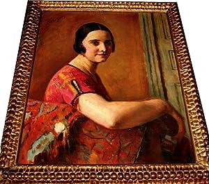 Peinture Femme en buste. Huile sur toile signéeen haut à gauche.: GUERIN(Charles