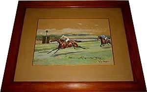 Très belle aquarelleancienne sur papier représentant l'arrivée de: Course...
