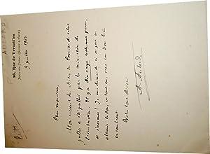 Lettre autographe signée d Alphonse Aulard. Au sujet de sonRecueil: AULARD (Alphonse)