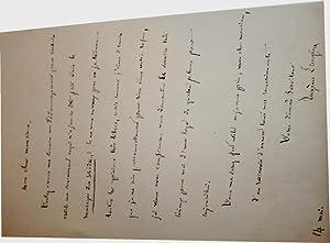Lettre autographe signée du critique théâtral Eugène Laugier, demande un...