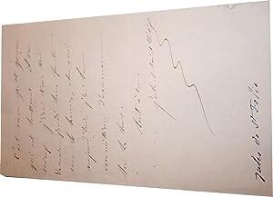 Mot autographe signé de Félix d'Amoreux.Il explique que son petit garçon ...