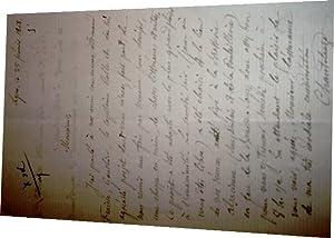 Lettre autographe signée par Régis de Chantelauze adressée à Jos&eacute...