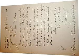 Lettre autographe à entêtedu théâtre National de l'Opéra sign&...
