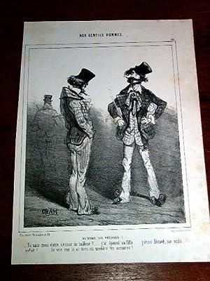 Lithographie début XIX ème CHAM - Nos Gentils Hommes : Au diable les préjug&...