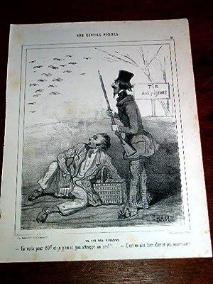 Lithographie début XIX ème CHAMNos Gentils Hommes : Le tir des: CHAM (pseudo Amédée