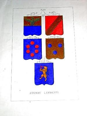 Gravure xix ème aquarellée en couleur représentant le blason STEMMI LAMBERTI: ...
