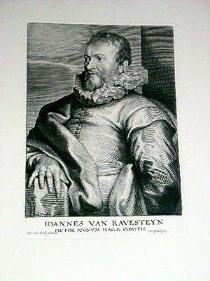 Superbe gravure sur cuivre Joannes van Ravesteyn, Pictor Iconum Hagae Comitis (Jan van Ravesteyn). ...