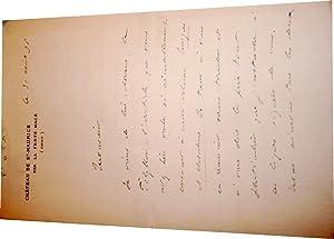 Lettre autographe à entête du Chateau de St Maurice, signée Cte de Contade &...
