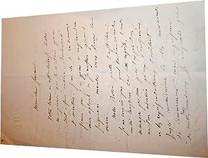 Lettre autographe signée d'Anicet Bourgeois à M. Marc Fournier au sujet de son drame ...