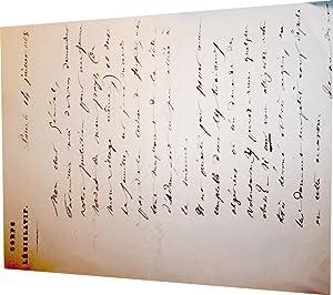 Lettre Autographe signée à entête du Corps Législatif signée. A.: JUBINAL (Achille)