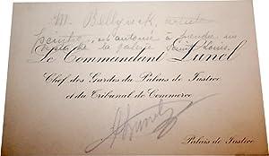 Carte de visite autographe signée au crayonA. Lunel , autorisation au: LUNEL (Adolphe Jean