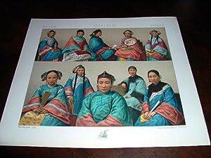Lithographie en couleurs répresentant l'habillement des femmes: CHINE