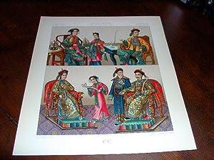Lithographie en couleurs répresentant famille impériale, hauts: CHINE