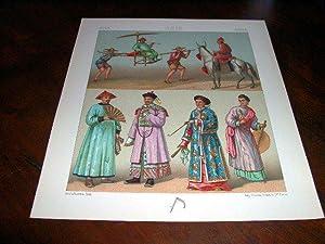 Lithographie en couleurs répresentant des costumes et insignes des: CHINE