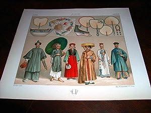 Lithographie en couleurs répresentant l'habillement des femmes chinoises et tartares; ...