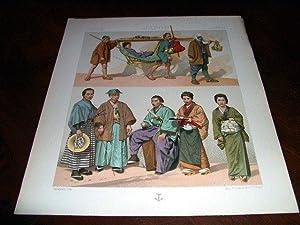 Lithographie en couleurs répresentant japonais en costumes civils, moyens de transport.: ...
