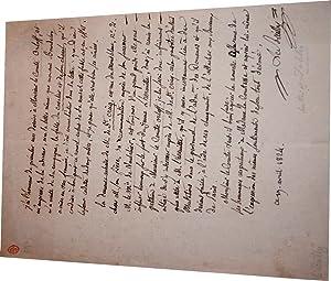 Lettre autographe signée Antoine Le Bailly, Il présente ses devoirs au: LE BAILLY (...