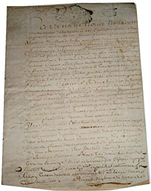 Manuscrit sur parchemin de 1729 cachet fiscal de la Généralité de Poitiers, ...