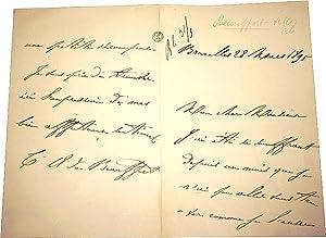 Lettre autographe signée par le comte A. de Beauffort. Il explique être souffrant, et ...