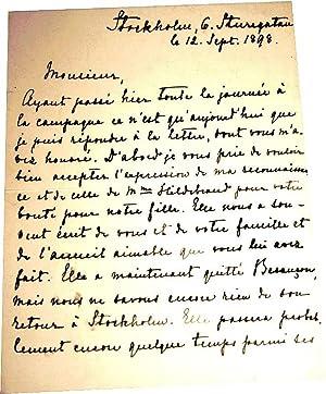 Belle lettre autographe signée de Hans Olof Hildebrand adressée à Lé...