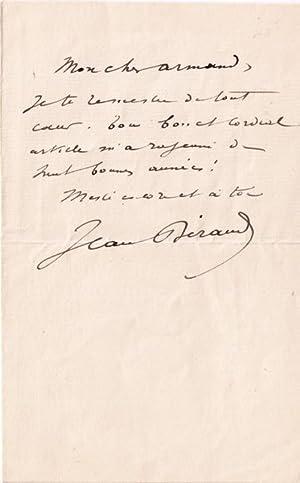 Lettre autographe signée Jean Béraud adressée à Armand Sylvestre. Mon: ...