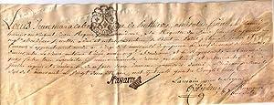 Parchemin Ancien « Louis Jean Marie de Bourbon, duc de Penthièvre Amiral de France, au...