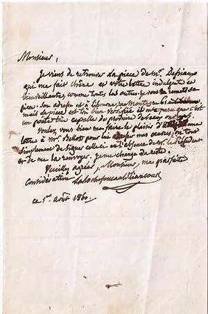 Lettre autographe signée La Rochefoucauld-Liancourt, adressée à M. Fertiault ...
