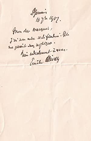 Mot autographe signée Emile Ollivier adressée à un Marquis. Il a reçu ...