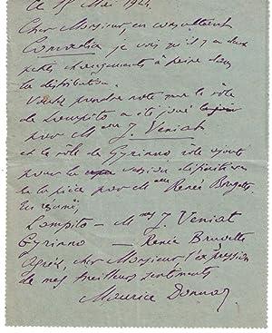 Lettre Autographe Pneumatique signée Maurice Donnay. Paris,: DONNAY (Maurice).