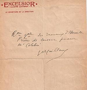 Lettre autographe à entête « EXCELSIOR - Illustré Quotidien -» sign...
