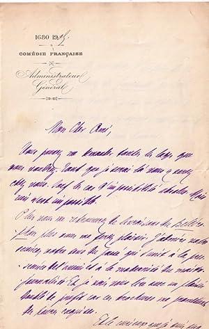 Lettre autographe à entête de la « Comédie Française » sign&...