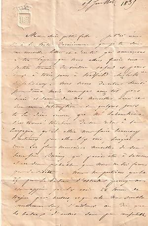 Lettre signée de la Duchesse de MASSA (Anne-Charlotte, dite Nancy MacDonald). Correspondance...
