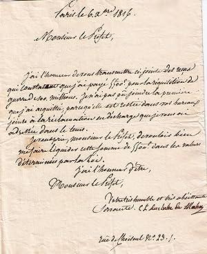 Lettre manuscrite signée Charlotte Lejeune Duchesse de MASSA, Adressée au Pré...