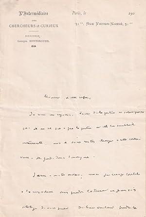 Belle lettre autographe à entête de l  Intermédiaire des Chercheurs: LEBESGUE (Octave