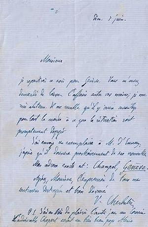 """Lettre Autographe Signée Victor Cherbuliez.""""Monsieur, Je repartirai ce: CHERBULIEZ"""