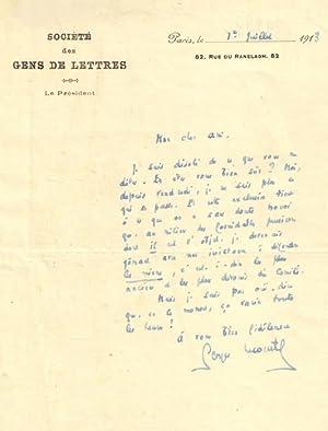Lettre autographe signée Georges Lecomte, au sujet d'une exclusion du Comité des...