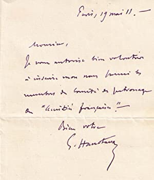 LettreAutographe Signée Gabriel Hanotaux. Il autorise à inscrire son: HANOTAUX (Gabriel)