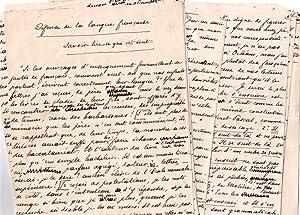 Document manuscrit intitulé « Défense De La Langue Française Savoir: ...