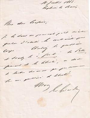 Lettre Autographe signée d'Émile de Girardin à un confrère, au sujet de...