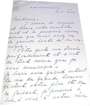 Très belle lettre autographe à entête du 7 rue GreffulheVIII° signée...