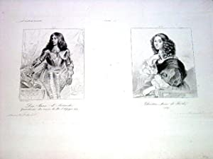 Gravure sur cuivre représentant : Don Juan d'Autriche & Christine Reine de Su&...