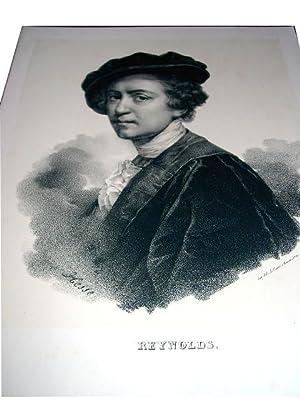 Lithographie originale du 19e siècle. Portrait de Reynolds dessinée par Hesse et ...